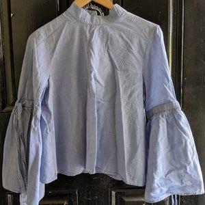 Zara basics bell sleeve mock neck shirt m